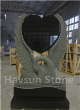 Carved Swan with Heart Black Memorial Monuments