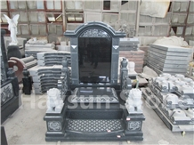 Chinese Style Dark Grey Monuments,Tombstones Grave
