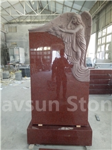 Imperial Red Grieving Angel on Rock Headstones