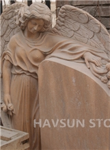 Pink or White Marble Angel with Wings Monument