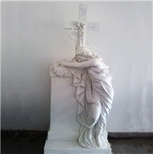 White Marble Angel Sculpture/Statue Tombstone