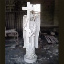 White Marble Angel with Cross Sculpture Statue