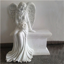 White Marble Angel with Wings Sculpture & Statue