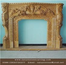 Limestone Fireplace Mantel Sculpture Mantel