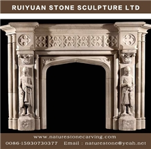 Pure White Marble Fireplace Mantel Sculpture