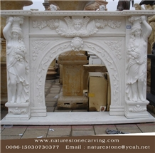 Sculpture Mantel Fireplace Handcarved Fireplace