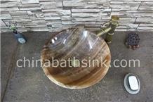 Brown Onyx Round Sinks,Onyx Wash Basins,Stone Sink