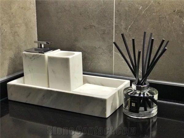 Carrara White Marble Tray Bath