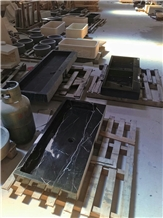 China Black Marble Console Sinks, Marble Basins