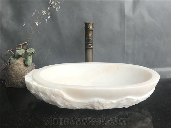 White Marble Bath Sink With Rough Side