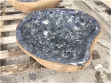 Fantasy Blue Marble Mosaic Sink River Stone Basin
