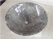 Seashell Marble Round Sinks,Nature Stone Basins