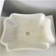 White Onyx Wash Basins, White Marble Wash Bowls