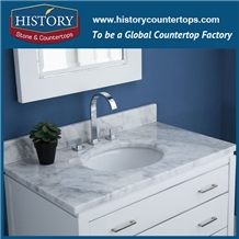 White Carrara Marble Bath Tops Custom Vanity Top