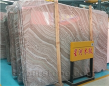 China Brown Galaxy Wood Marble Slab Cladding