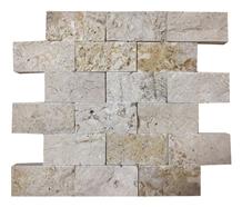 5x10cm Rustic Travertine Split Face Mosaic