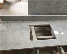 Carrara White Marble Bathroom Countertop