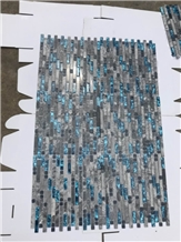Marble Mosaic Glass Mixture Linear Mosaic Tile