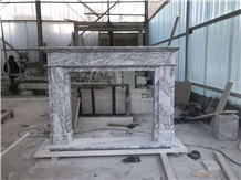 English Style Carrara Marble Fireplace Mantel