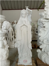 Handcarved Marble Virgin Mary Human Sculpture