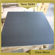Honed Black G684 Granite Flooring Tiles