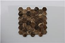 Spain Dark Emperador Hexagon Marble Mosaics