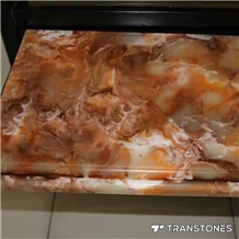 Brown Alabaster Resin Panel Faux Stone for Bar Top