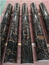 Black Portoro Marble Stone Roman Columns