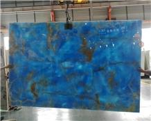 Backlit Translucent Blue Onyx Slabs for Wall Tiles