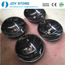 Bowl Shape Polish Silver Dragon Marble Wash Basin