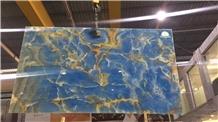 China Cheap Price Polished Blue Onyx Slabs