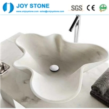 Eagle White Marble Oyster Shape Hotel Wash Basin