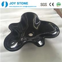 Flower Shape Shanxi Black Granite Hotel Wash Basin