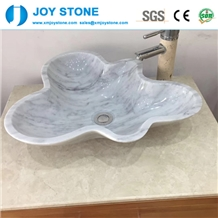 Italian Bianco Carrara Marble Flower Shape Basin