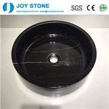 Nero Marquina Marble Round Bathroom Wash Basin