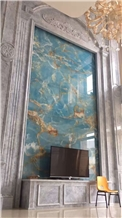 Nice Bookmatched Blue Onyx Slabs for Wall Panels