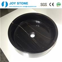 Polished China Nero Marquina Marble Round Basin