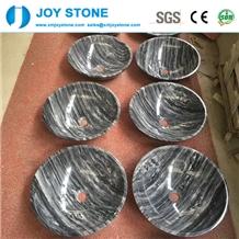 Polished Grey Wood Grain Marble Rounded Wash Basin