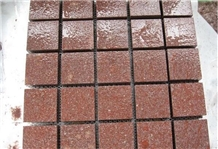 Red Porphyry Shouning Red Cube Stone Pavers Cut