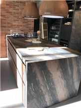 Leather Surface Elegant Brown Quartzite Countertop