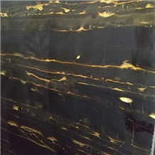 China Gold Dragon Black Marble Slab
