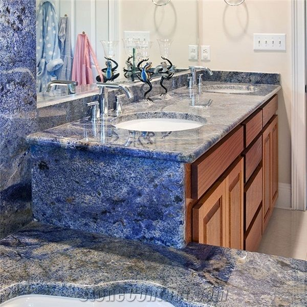 Custom Azul Bahia Blue Granite Bathroom