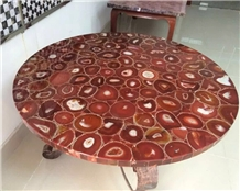 Customized Design Red Agate Stone Coffee Table Top