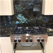 Labradorite Blue Granite Countertops & Backsplash