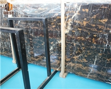 Natural Black Gold Flower Marble Slab