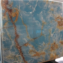 Polished Backlit Wall Panel Blue Onyx Marble