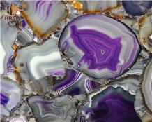 Semi Precious Stone Backlit Onyx Purple Agate Slab