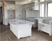 White Macaubas Quartzite Kitchen Countertops