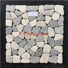 Mosaic Stone Square Mix White and Light Grey