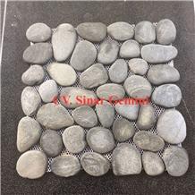 Natural Grey Pebble Mosaic for Wall Decoration